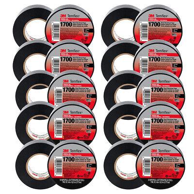 20 Rolls 3m Temflex 1700 Vinyl Black Electrical Tape 34 X 60 Ft 20 Pack