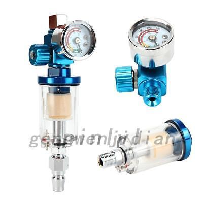Mini Air Pressure Regulator Gauge Spray Gun & In-Line Water Trap Air Filter MT