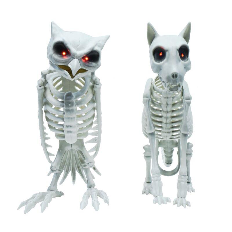 2pc Scary Light Up Skeleton Dog Owl Haunted House Prop Halloween Party Decor Set