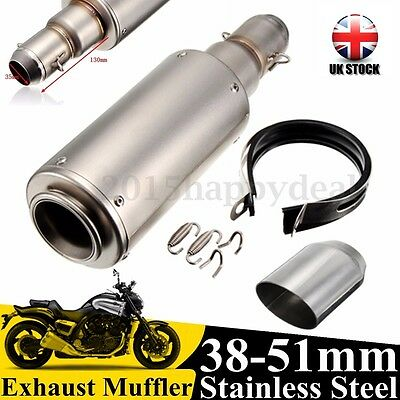 38-51mm Universal GP Motorcycle Stainless Steel Muffler Exhaust Pipe Silencer UK