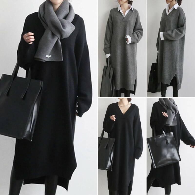 Damen Strickkleid Pulliver Pullikleid Korea Mode Jerseykleid Sweater Longtop Neu