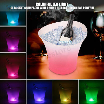 7 Colors LED Light Ice Bucket Champagne Wine Drink Beer Ice Cooler Bar Party 5L](Champagne Beverage)