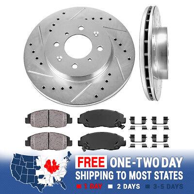 Front Drill Slot Brake Rotors +Ceramic Pads For 96 97 98 99 - 2005 Honda (Honda Civic Rotors)