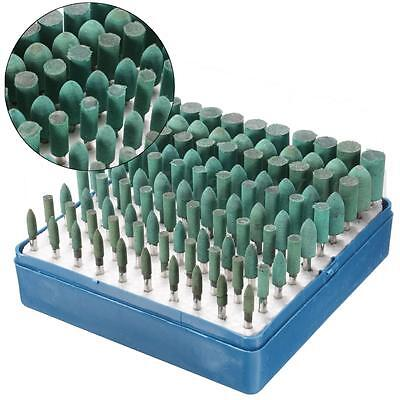100pcs Abrasive Rubber Polishing Head Burr Point Kit Box Tool For Dremel Rotary