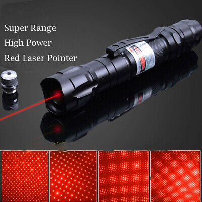 500Miles Visible Red Laser Pointer Pen 650nm Portable Lazer+Star Cap+Belt Clip