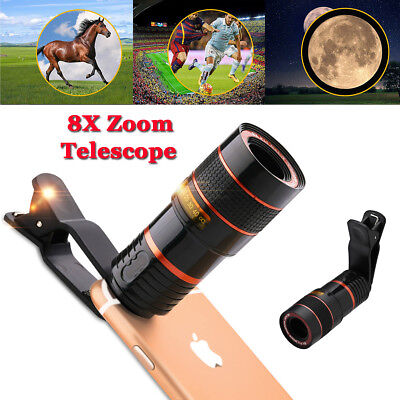 Clip-on 8x Optical Zoom HD Telescope Camera Lens Universal For Cell Phone iPhone