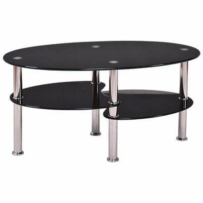 High Quality Oval Side Coffee Table Tempered Glass Shelf Chrome Living Room