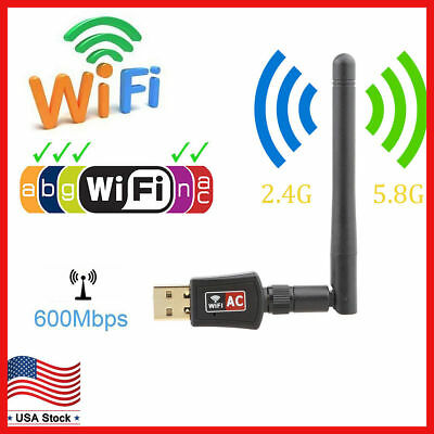 Dual Band 600Mbps Wireless USB WiFi Network Adapter w/Antenna 802.11AC 2.4/5Ghz