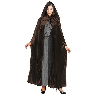 Brown Velvet Hooded Cloak Deluxe Quality Unisex New by Charades 01005 - Brown Hooded Cloak