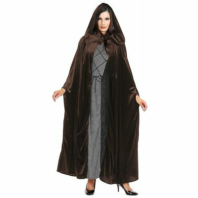 Brown Velvet Hooded Cloak Deluxe Quality Unisex New by Charades 01005](Brown Hooded Cloak)