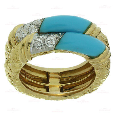 1960s VAN CLEEF & ARPELS Diamond Turquoise 18k Yellow Gold Band Ring