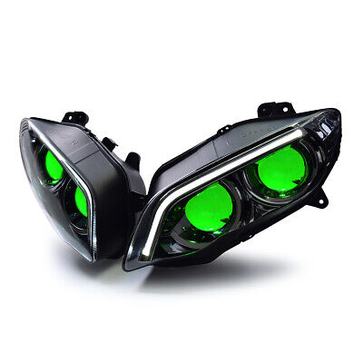 KT For Yamaha R1 LED & HID Projector Headlight Assembly 2004 2005 2006 V2 Green