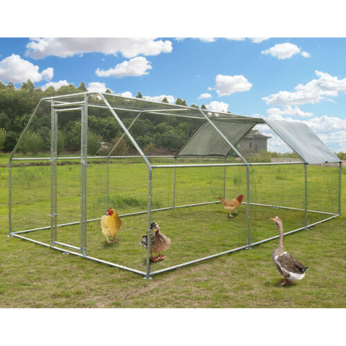 Large Metal Chicken Coop Flat Roofed Hen Run House with Cover 9.2