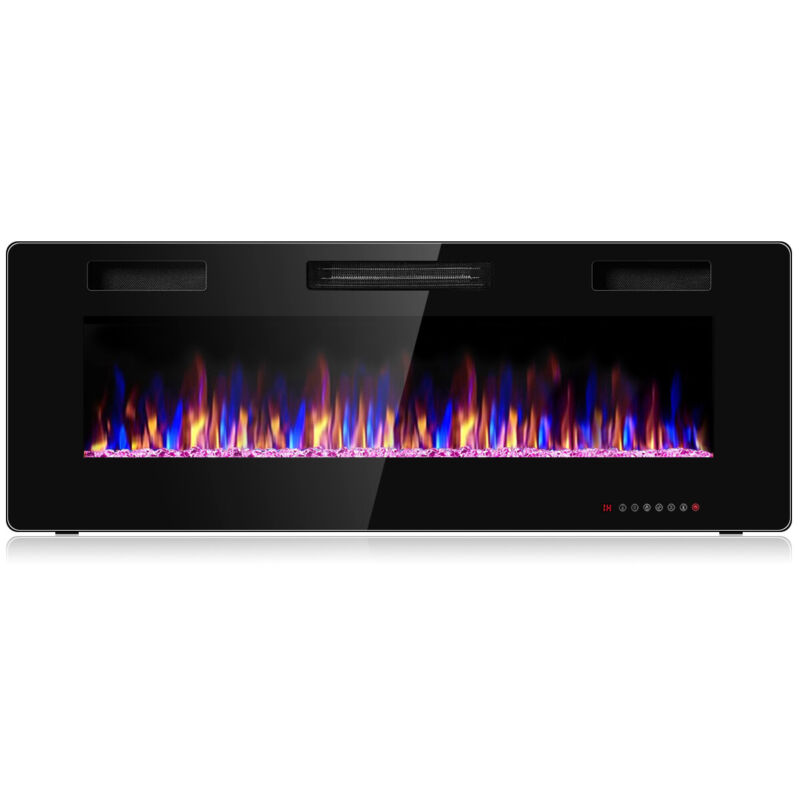 """50"""" Electric Fireplace Recessed Ultra Thin Wall Mounted Heater Multicolor Flame"""