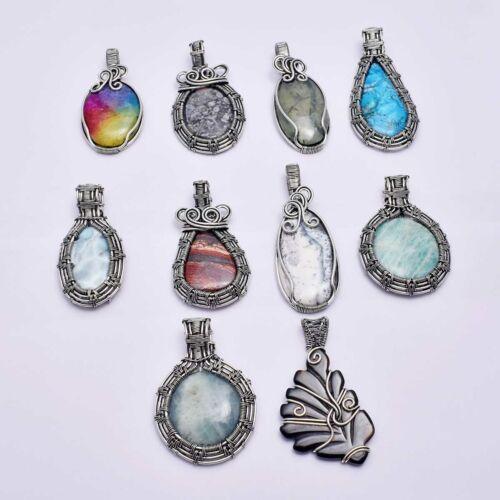 Multi Gemstone 10 pcs Wholesale Lot Pendant Jewelry Lot-1596