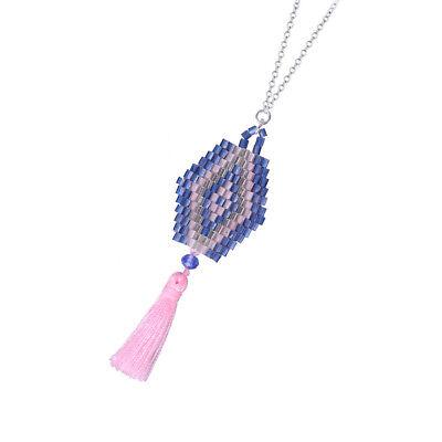 (Women Necklace Tassel Pendant Seed Beaded Silver Strand Chain Handmaded)