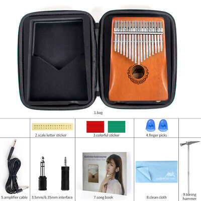 17 Key Electric Kalimba Finger Piano W/ Pickup Musical Instrument for Beginners