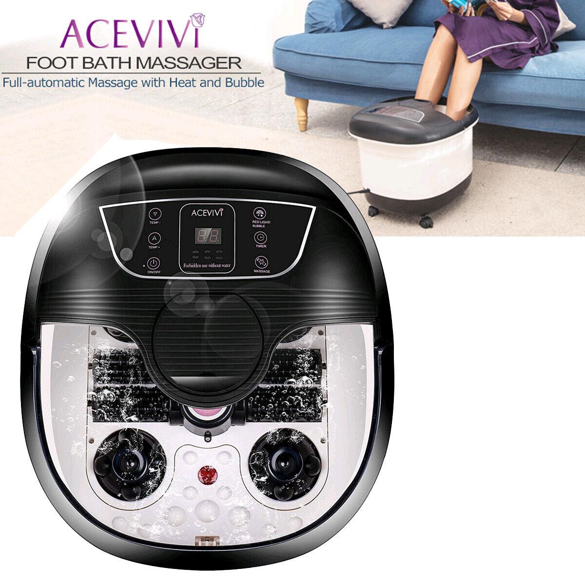 ACEVIVI Foot Spa Bath Massager Bubble Heat LED Display Shiat