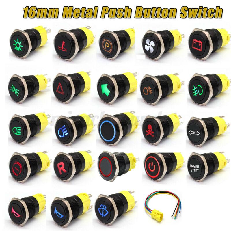 16mm 12V Black Metal Push Button Swithc LED Light Van Marine Boat Race Kit Car