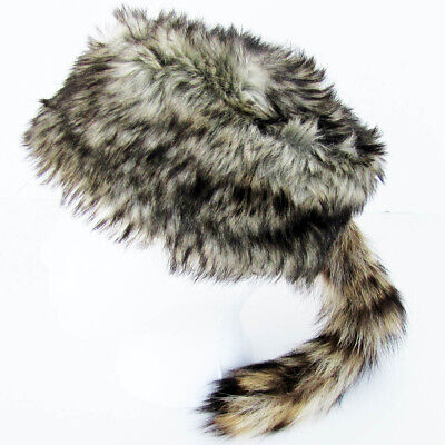 Daniel Boone Davey Crockett RACCOON TAIL HAT racoon mountain man coon skin - Raccoon Skin Hat