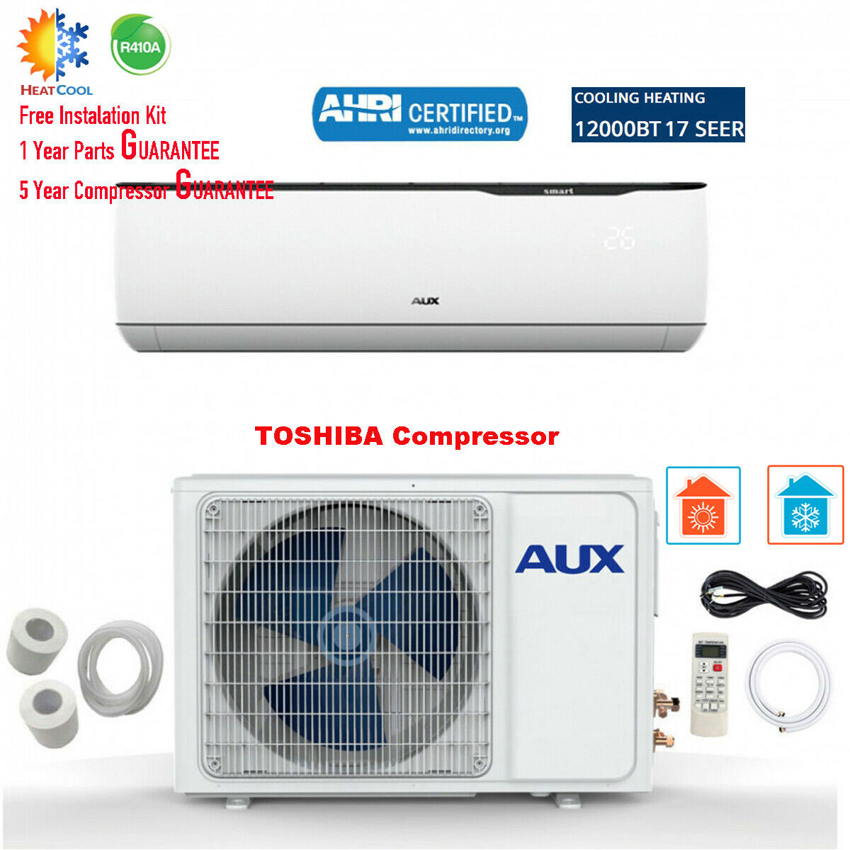 aux 12000btu ductless air conditioner heat pump