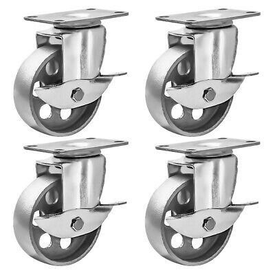 4 All Steel Swivel Plate Caster 3 Wheels With Brake Lock Gray Heavy Duty