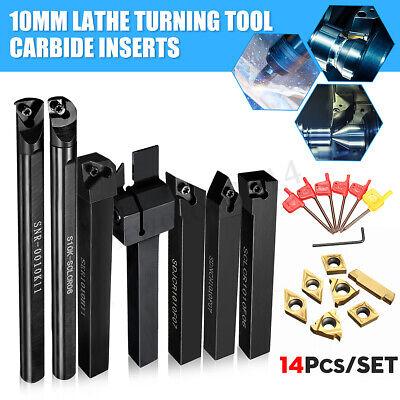 7 Set 10mm Shank Lathe Turning Tool Holder Boring Bar Carbide Insert Kits Set