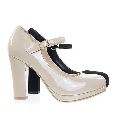 Ayden Foam Padded Comfortable Mary-Jane Dress Pump, Chunky Block High Heel