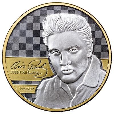 Elvis Presley 1 oz Silver Gilt Prooflike Commemorative in OGP SKU51964