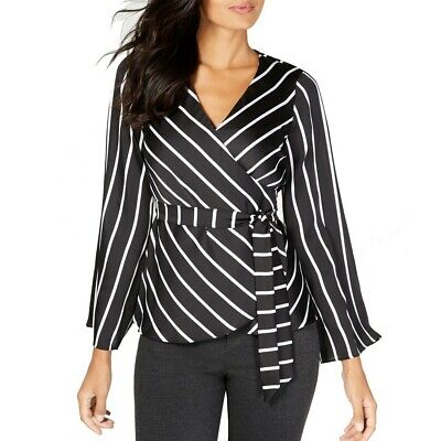 INC NEW Women's Striped Bell-sleeve Belted Wrap Blouse Shirt Top TEDO Belted Blouse Top