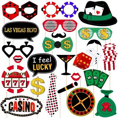Party Supplies Las Vegas (Las Vegas Casino Photo Booth Props Kit Glitter Casino Themed Party Supplies with)