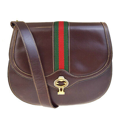 Authentic GUCCI GG Logos Shoulder Bag Canvas Leather Brown Made In Italy 08V2460