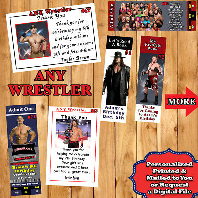 Wwe Birthday Cards (WWE Wrestling Birthday Invitation Thank You Cards or  Bookmark 10 ea)