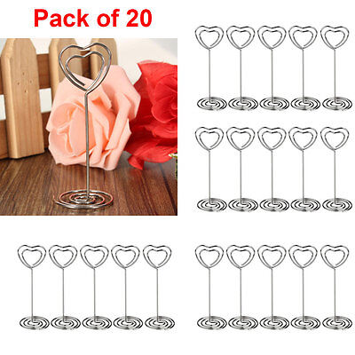 20pcs Heart Shape Card Holder Wedding Party Name Table Number Place Favor Clips (Place Card)