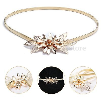 Fashion Women Metal Flower Elastic Stretch Waist Belt Strap Cummerbund Waistband