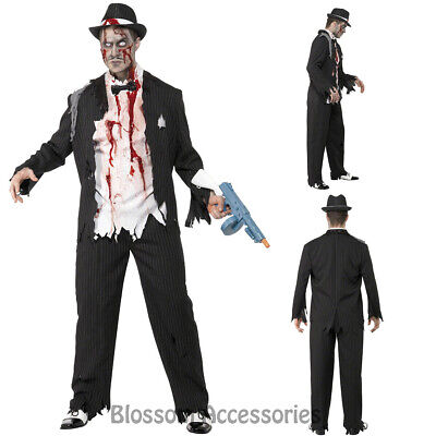 Dead Gangster Halloween Costumes (CL904 Zombie Gangster 20s 1920s Halloween Fancy Dress Up Mens Ghost Dead)
