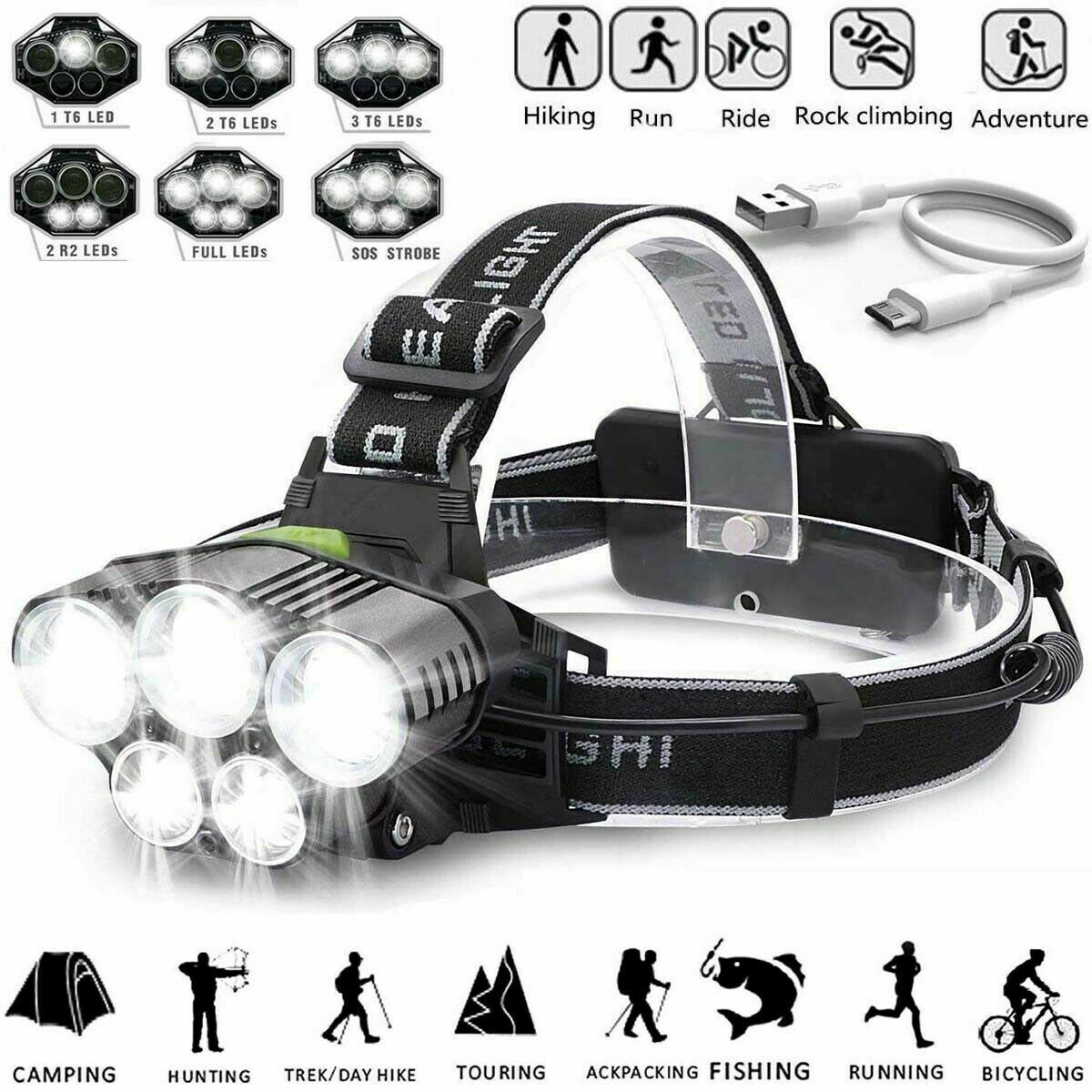 350000LM LED Headlamp Headlight Torch Rechargeable Flashlight 18650 Camping Camping & Hiking