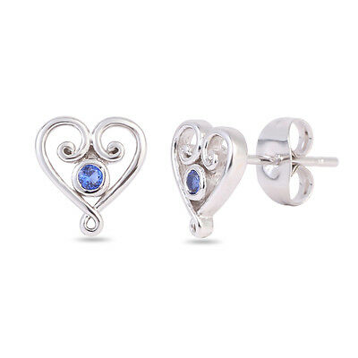 Best Selling Heart WG Sapphire Cubic Zirconia Stud Earrings-Bridal
