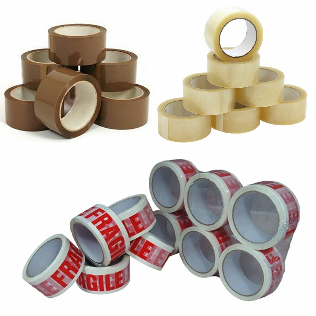 "6 x Rolls Fragile Sticky Parcel Packing Packaging Tape 48mm x 66m x 3/"" Core"