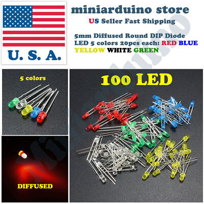 100pcs 5mm Diffused Led Light White Yellow Red Blue Assorted Assortment Diy Set
