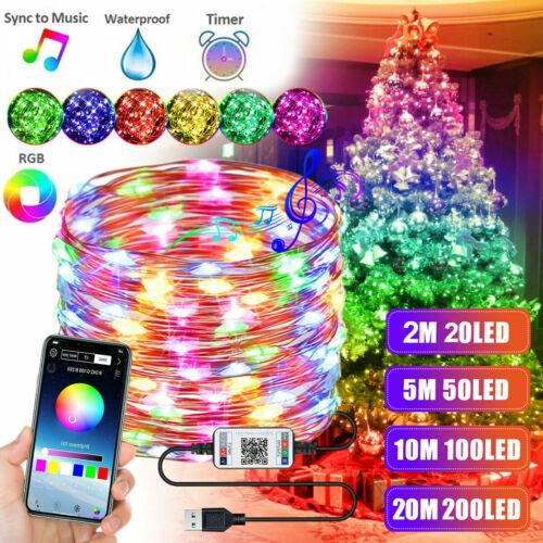 Christmas Tree Decoration Lights LED String Lamp Bluetooth App Remote Control US Christmas Trees