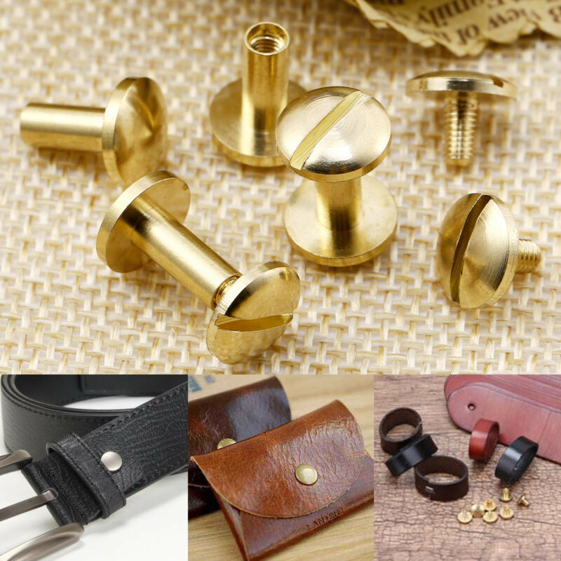60x Arc Solid Metal Button Stud Slotted Nail Screw Back Leather Rivet Belt 10mm