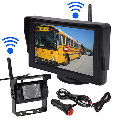 "Wireless IR Car Rear View Backup Camera+4.3"" Monitor for Rv Truck Trailer 12-24V"