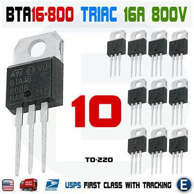10pcs Bta16-800b Thyristor Triac 800v 16a To-220 Bta16-800 High Voltage