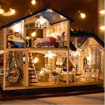 Doll House Miniature DIY Kit Dolls Toy House W/ Furniture LED Light Box Gift USA