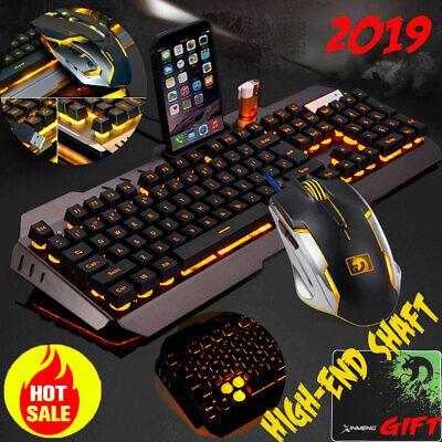 Computer Desktop Gaming Keyboard and Mouse Mechanical Feel Led Light Backlit US
