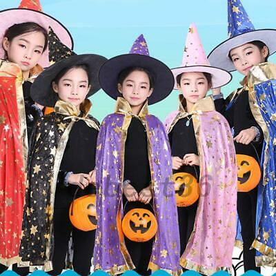 Child Witch Hat (Halloween Witch Hat Cloak Cape Costume Child Kids Magician Stage)
