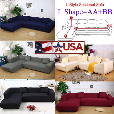 - 8 Colors Sofa Covers L Shape 2pcs Fabric Stretch Slipcovers for Sectional Corner