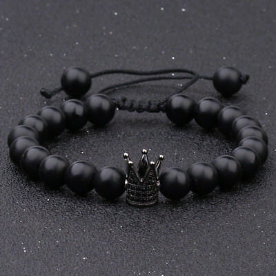 Men's Black Rock Lava Agate Onyx Bracelets CZ Crown Weave Bracelets Jewellery