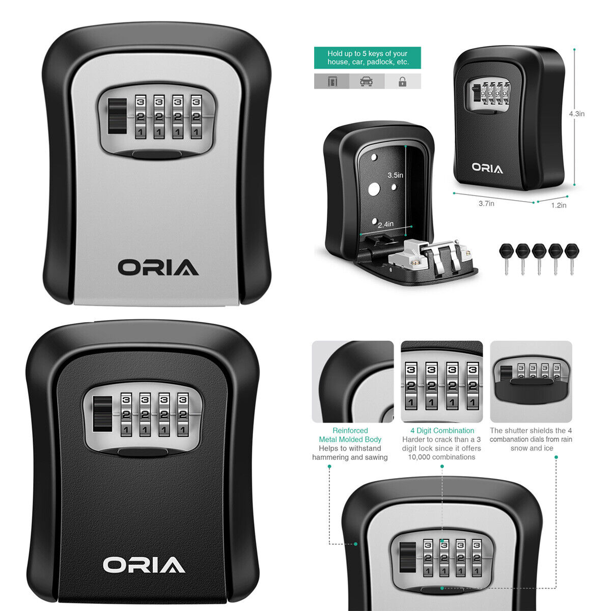 Details about 1x ORIA 4-Digit Combination Key Lock Storage Box Wall Mounted  Safe Security Home